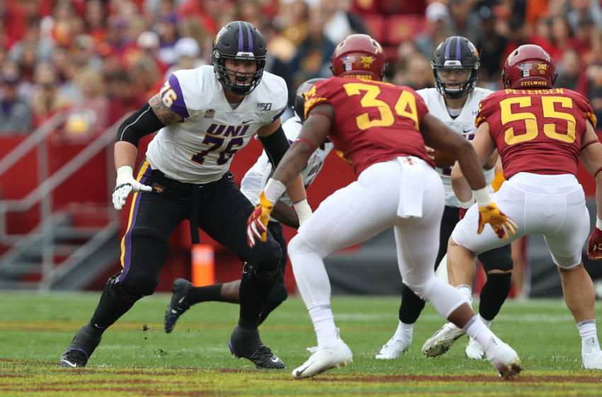 2021 NFL Draft prospect Spencer Brown #76 of the Northern Iowa Panthers (Photo by Reese Strickland-USA TODAY Sports)