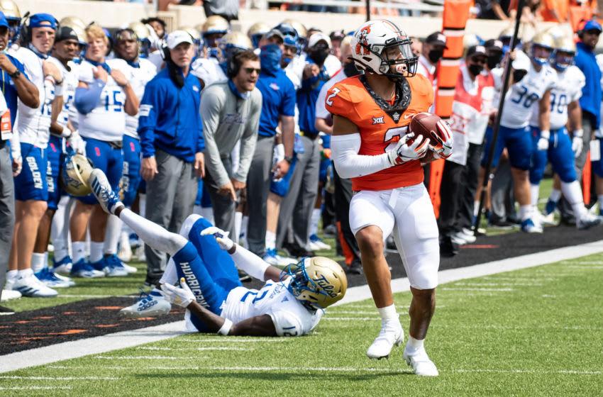 2021 NFL Draft prospect Tylan Wallace #2 of the Oklahoma State Cowboys (Mandatory Credit: Rob Ferguson-USA TODAY Sports)