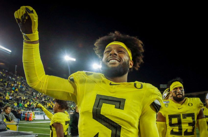 Oregon star defensive lineman Kayvon Thibodeaux can be the top pick in the 2022 NFL Draft, 2022 NFL mock draft.