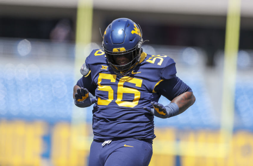 2021 NFL Draft prospect Darius Stills #56 of the West Virginia Mountaineers (Mandatory Credit: Ben Queen-USA TODAY Sports)