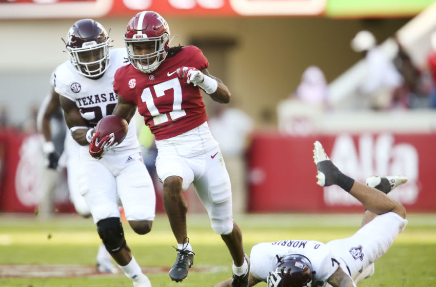 The New York Giants snag Jaylen Waddle in the first round of this 2021 NFL mock draft (Photo by Gary Cosby Jr/The Tuscaloosa News via USA TODAY Sports)