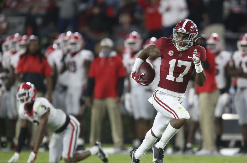2021 NFL Draft prospect Jaylen Waddle #17 of the Alabama Crimson Tide (Photo by Gary Cosby Jr/The Tuscaloosa News via USA TODAY Sports)