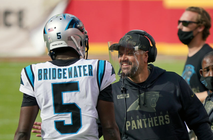 Matt Rhule and Teddy Bridgewater of the Carolina Panthers (Photo by Denny Medley-USA TODAY Sports)