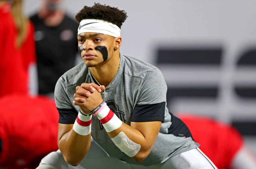 Justin Fields is among the premier quarterback targets for the New England Patriots this offseason (Photo by Mark J. Rebilas-USA TODAY Sports)