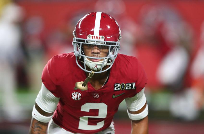 2021 NFL Mock Draft prospect Patrick Surtain II of the Alabama Crimson Tide (Photo by Mark J. Rebilas-USA TODAY Sports)