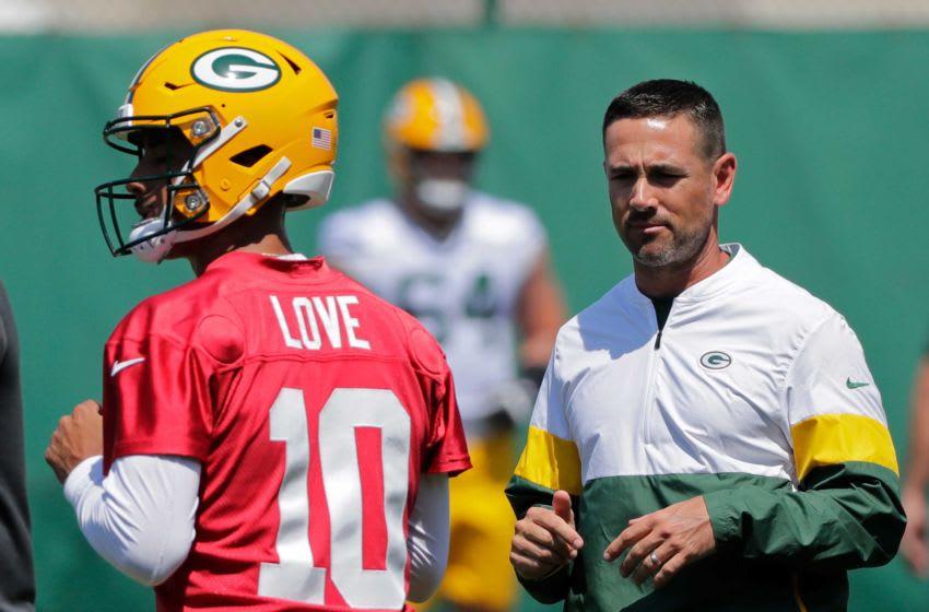 Green Bay Packers head coach Matt LaFleur watches Jordan Love (10) as he participates in minicamp practice Wednesday, June 9, 2021, in Green Bay, Wis. Cent02 7g5lqjf36841arrtr71c Original