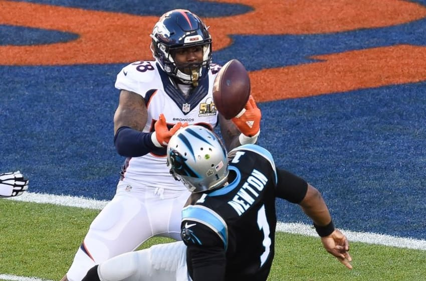 Feb 7, 2016; Santa Clara, CA, USA; The ball goes loose as Carolina Panthers quarterback Cam Newton (1) is sacked by Denver Broncos outside linebacker Von Miller (58) during the first quarter in Super Bowl 50 at Levi