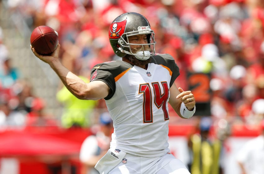 TAMPA, FL - SEPTEMBER 16: Ryan Fitzpatrick #14 of the Tampa Bay Buccaneers throws a pass against the Philadelphia Eagles during the first half at Raymond James Stadium on September 16, 2018 in Tampa, Florida. (Photo by Michael Reaves/Getty Images)