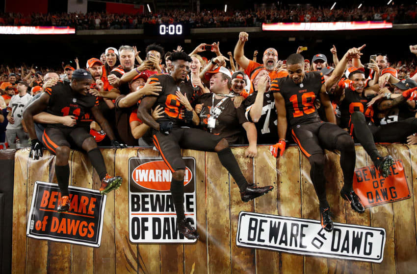 CLEVELAND, OH - SEPTEMBER 20: Antonio Callaway #11, Rashard Higgins #81 and Damion Ratley #18 of the Cleveland Browns celebrate with fans after a 21-17 win over the New York Jets at FirstEnergy Stadium on September 20, 2018 in Cleveland, Ohio. (Photo by Joe Robbins/Getty Images)