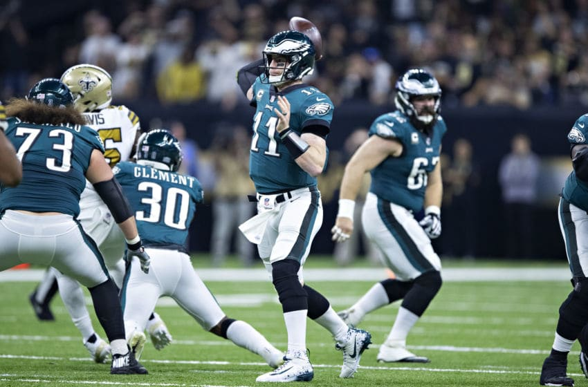 NEW ORLEANS, LA - NOVEMBER 18: Carson Wentz #11 of the Philadelphia Eagles throws a pass during a game against the New Orleans Saints at Mercedes-Benz Superdome on November 18, 2018 in New Orleans, Louisiana. The Saints defeated the Eagles 48-7. (Photo by Wesley Hitt/Getty Images)