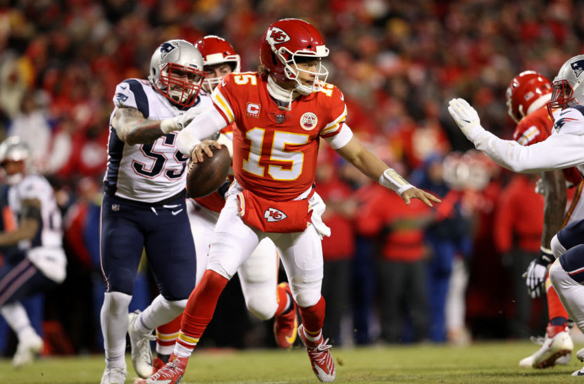KANSAS CITY, MISSOURI - JANUARY 20: Patrick Mahomes #15 of the Kansas City Chiefs looks to pass in the second quarter against the New England Patriots during the AFC Championship Game at Arrowhead Stadium on January 20, 2019 in Kansas City, Missouri. (Photo by Patrick Smith/Getty Images)