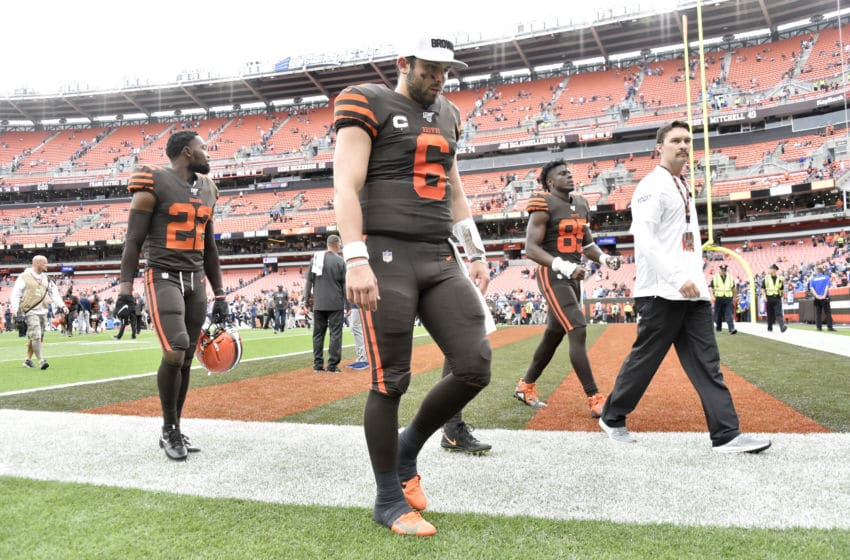 CLEVELAND, OHIO - SEPTEMBER 08: Baker Mayfield #6 of the Cleveland Browns walks off the field after the Browns were defeated by the Tennessee Titans at FirstEnergy Stadium on September 08, 2019 in Cleveland, Ohio. The Titans defeated the Browns 43-13. (Photo by Jason Miller/Getty Images)