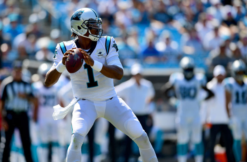 CHARLOTTE, NORTH CAROLINA - SEPTEMBER 08: Cam Newton #1 of the Carolina Panthers throws the ball during their game against the Los Angeles Rams at Bank of America Stadium on September 08, 2019 in Charlotte, North Carolina. (Photo by Jacob Kupferman/Getty Images)