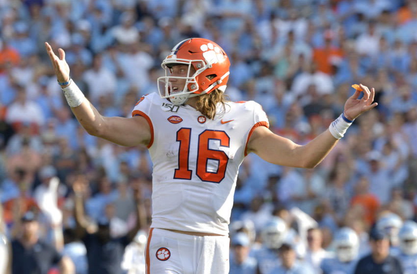 CHAPEL HILL, NORTH CAROLINA - SEPTEMBER 28: Trevor Lawrence #16 of the Clemson Tigers against the North Carolina Tar Heels during their game at Kenan Stadium on September 28, 2019 in Chapel Hill, North Carolina. Clemson won 21-20. (Photo by Grant Halverson/Getty Images)