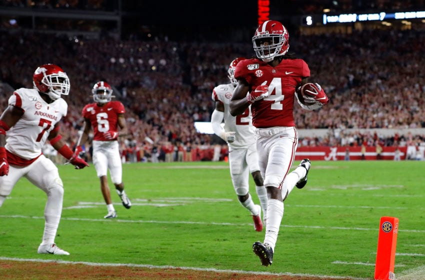 TUSCALOOSA, ALABAMA - OCTOBER 26: Jerry Jeudy #4 of the Alabama Crimson Tide carries this reception in for a touchdown in the first half against the Arkansas Razorbacks at Bryant-Denny Stadium on October 26, 2019 in Tuscaloosa, Alabama. (Photo by Kevin C. Cox/Getty Images)