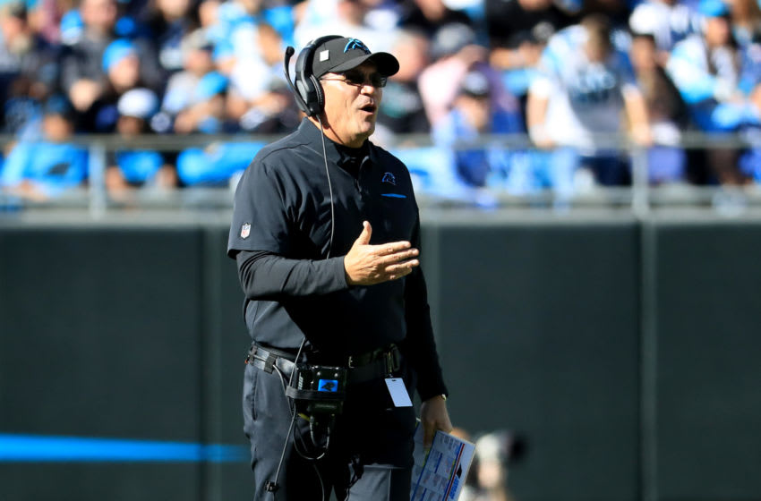 CHARLOTTE, NORTH CAROLINA - NOVEMBER 03: Head coach Ron Rivera of the Carolina Panthers reacts after a play during their game against the Tennessee Titans at Bank of America Stadium on November 03, 2019 in Charlotte, North Carolina. (Photo by Streeter Lecka/Getty Images)