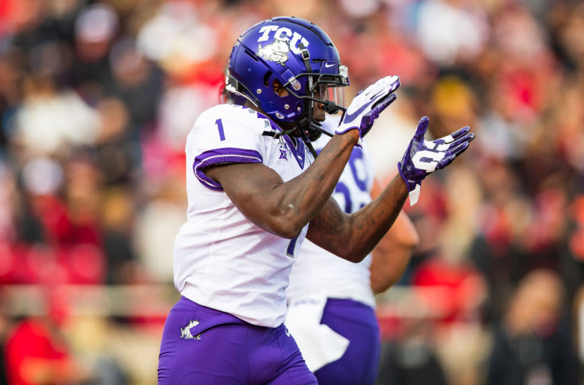 LUBBOCK, TEXAS - NOVEMBER 16: Wide receiver Jalen Reagor #1 of the TCU Horned Frogs claps during the first half of the college football game against the Texas Tech Red Raiders on November 16, 2019 at Jones AT&T Stadium in Lubbock, Texas. (Photo by John E. Moore III/Getty Images)