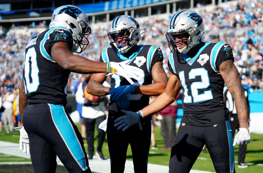 CHARLOTTE, NORTH CAROLINA - DECEMBER 01: D.J. Moore #12 of the Carolina Panthers celebrates a touchdown during the first quarter during their game against the Washington Redskins at Bank of America Stadium on December 01, 2019 in Charlotte, North Carolina. (Photo by Jacob Kupferman/Getty Images)