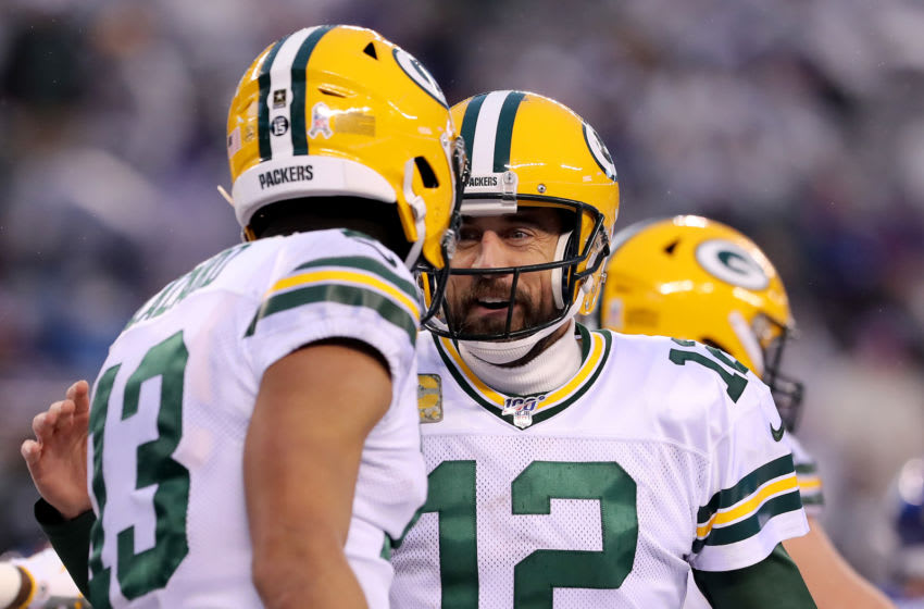 Green Bay Packers, Aaron Rodgers, Allen Lazard (Photo by Elsa/Getty Images)