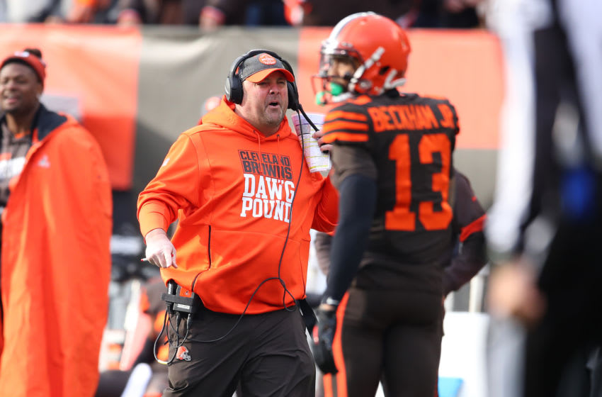 CLEVELAND, OHIO - DECEMBER 08: Head coach Freddie Kitchens and Odell Beckham #13 of the Cleveland Browns look on while playing the Cincinnati Bengals at FirstEnergy Stadium on December 08, 2019 in Cleveland, Ohio. (Photo by Gregory Shamus/Getty Images)