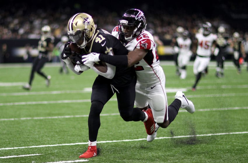 NEW ORLEANS, LA - DECEMBER 24: Alvin Kamara #41 of the New Orleans Saints in action against the Atlanta Falcons at Mercedes-Benz Superdome on December 24, 2017 in New Orleans, Louisiana. (Photo by Chris Graythen/Getty Images)