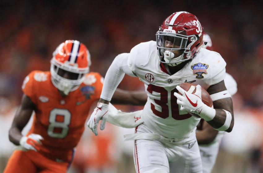 NEW ORLEANS, LA - JANUARY 01: Mack Wilson #30 of the Alabama Crimson Tide returns an interception for a touchdown in the second half of the AllState Sugar Bowl against the Clemson Tigers at the Mercedes-Benz Superdome on January 1, 2018 in New Orleans, Louisiana. (Photo by Ronald Martinez/Getty Images)