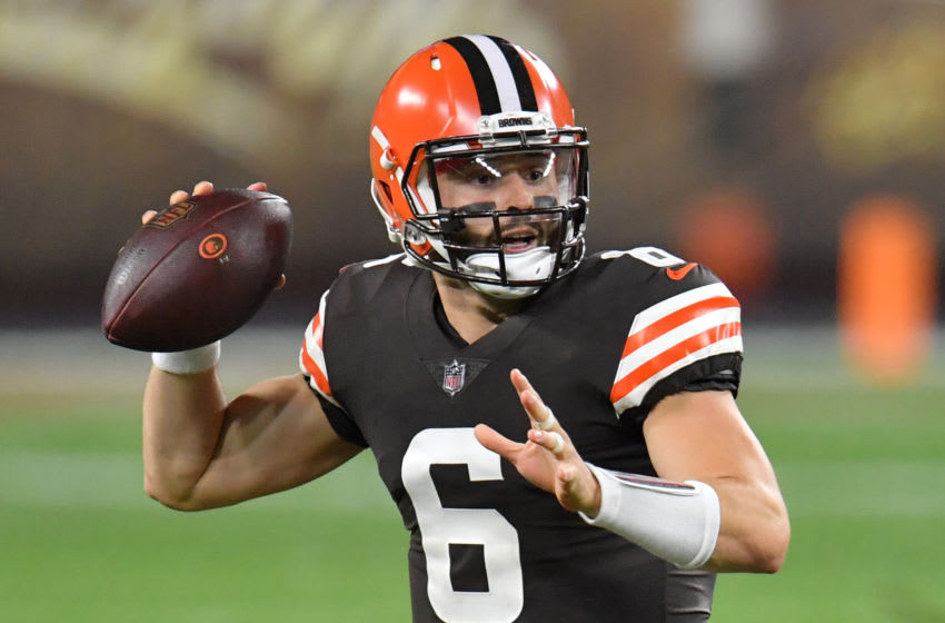 CLEVELAND, OHIO - SEPTEMBER 17: Baker Mayfield #6 of the Cleveland Browns passes against the Cincinnati Bengals during the first quarter at FirstEnergy Stadium on September 17, 2020 in Cleveland, Ohio. (Photo by Jason Miller/Getty Images)
