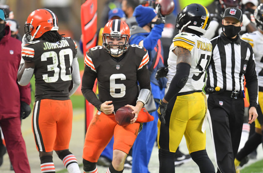 CLEVELAND, OHIO - JANUARY 03: Quarterback Baker Mayfield #6 of the Cleveland Browns celebrates after running for a first down during the final minute of the fourth quarter against the Pittsburgh Steelers at FirstEnergy Stadium on January 03, 2021 in Cleveland, Ohio. The Browns defeated the Steelers 24-22. (Photo by Jason Miller/Getty Images)