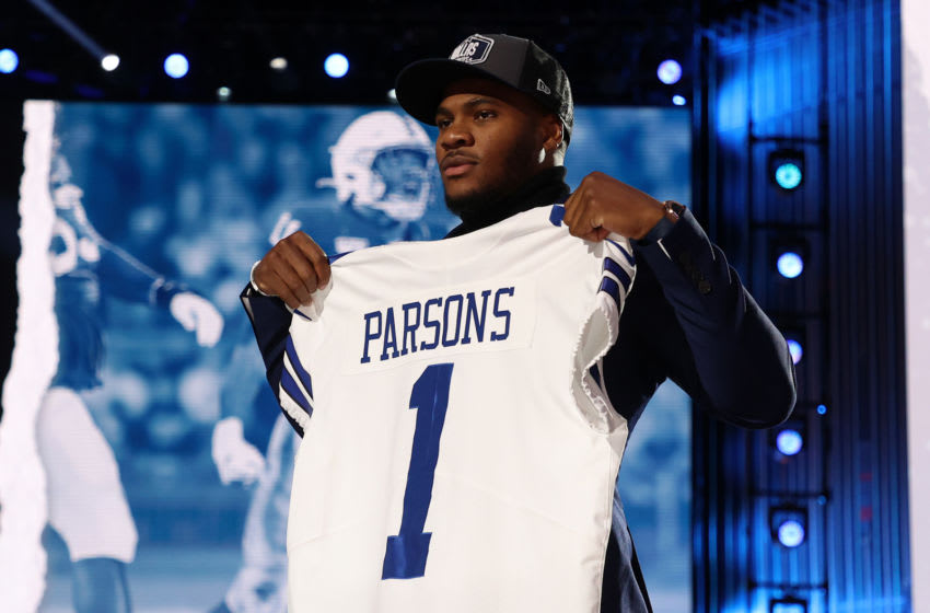 Micah Parsons, Dallas Cowboys, 2021 NFL Draft. (Photo by Gregory Shamus/Getty Images)