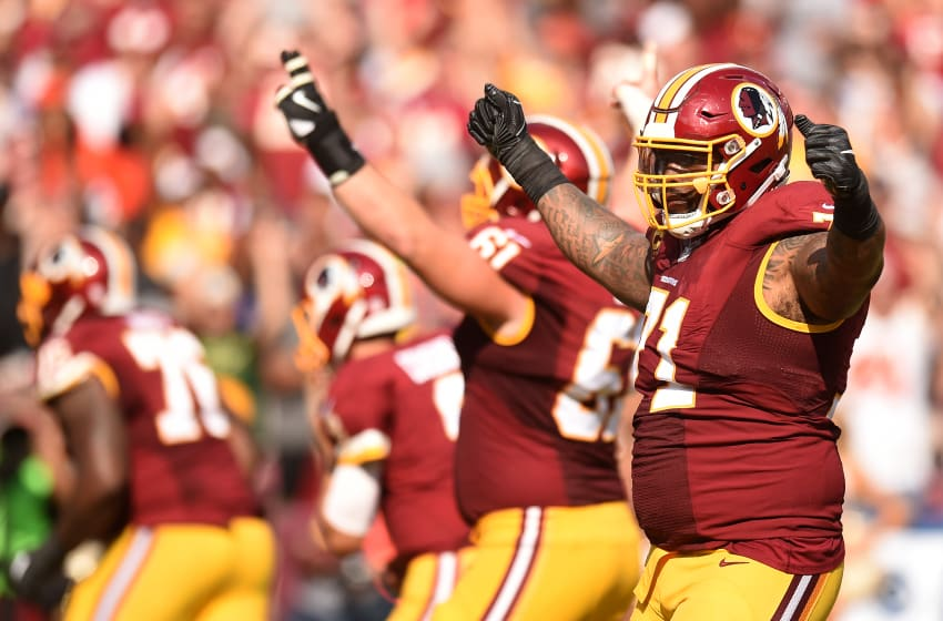 LANDOVER, MD - OCTOBER 2: Tackle Trent Williams #71 of the Washington Redskins acknowledges the crowd in the fourth inning against the Cleveland Browns at FedExField on October 2, 2016 in Landover, Maryland. (Photo by Mitchell Layton/Getty Images)