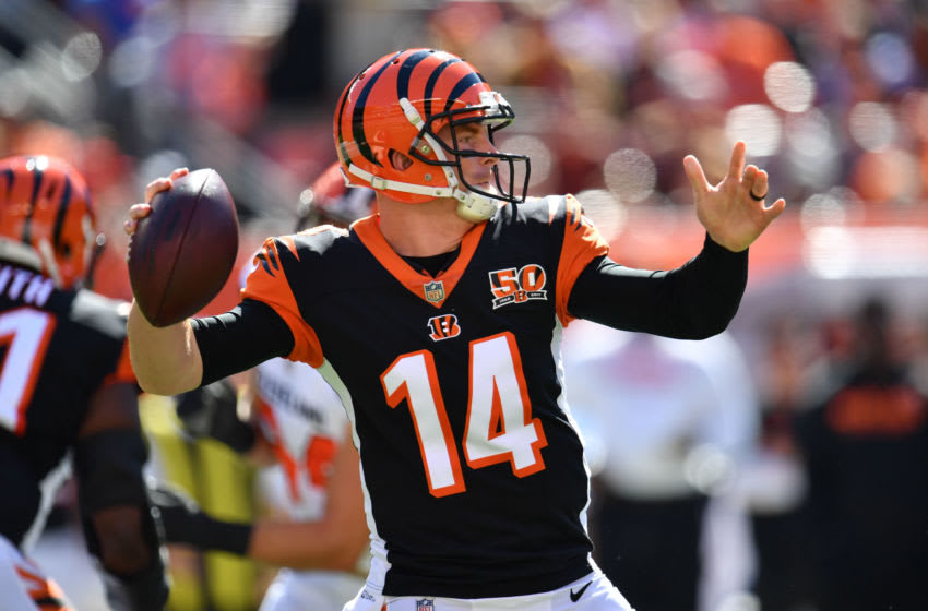 CLEVELAND, OH - OCTOBER 01: Andy Dalton #14 of the Cincinnati Bengals looks to make a pass in the first quarter against the Cleveland Browns at FirstEnergy Stadium on October 1, 2017 in Cleveland, Ohio. (Photo by Jason Miller /Getty Images)
