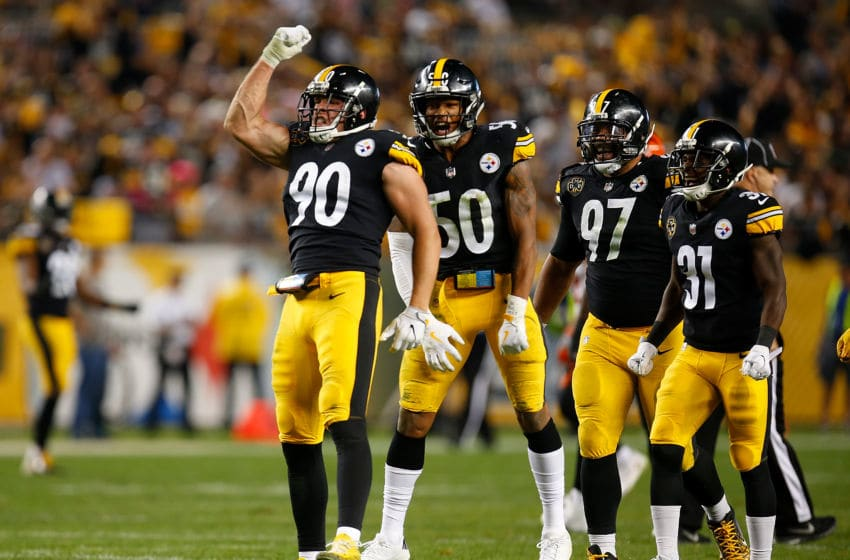 PITTSBURGH, PA - OCTOBER 22: T.J. Watt #90 of the Pittsburgh Steelers reacts after a sack of Andy Dalton #14 of the Cincinnati Bengals in the second half during the game at Heinz Field on October 22, 2017 in Pittsburgh, Pennsylvania. (Photo by Justin K. Aller/Getty Images)