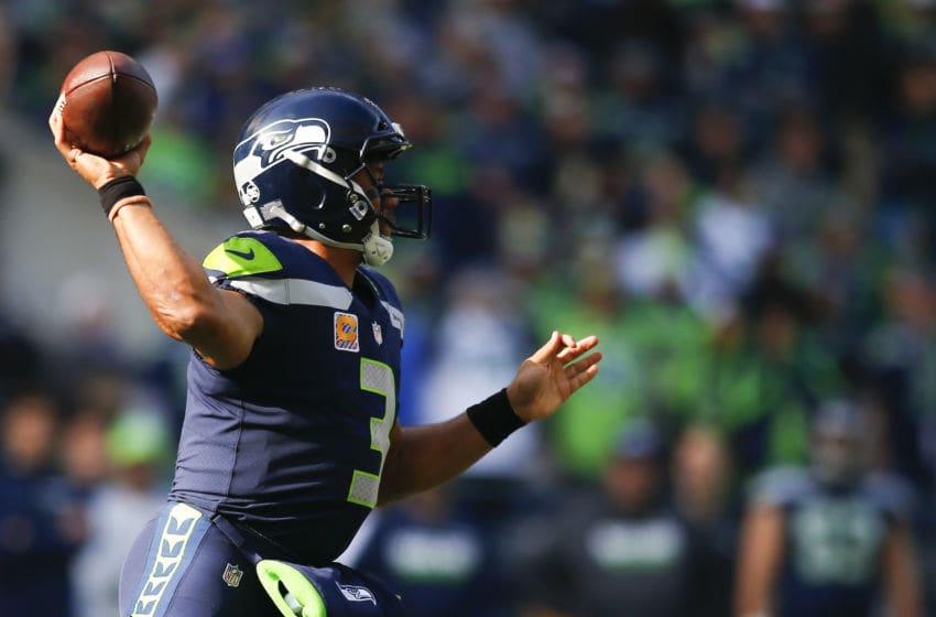 SEATTLE, WA - OCTOBER 29: Quarterback Russell Wilson