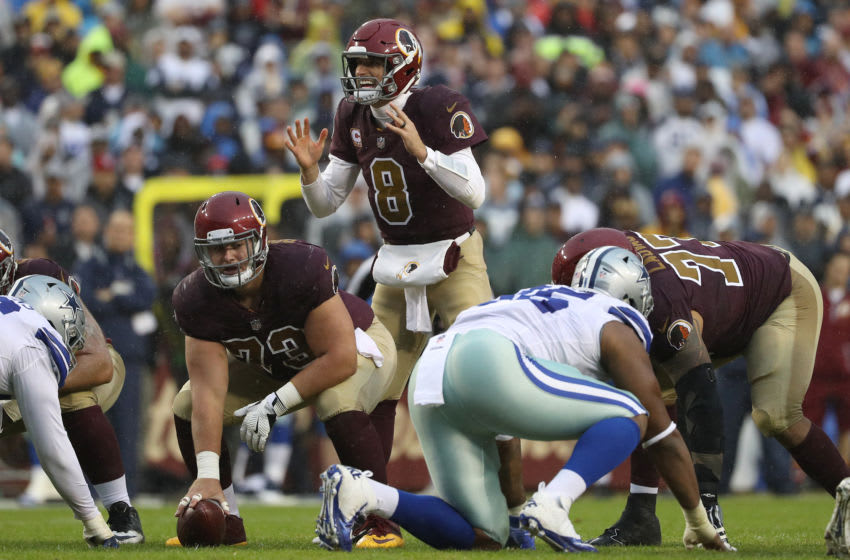 LANDOVER, MD - OCTOBER 29: Quarterback Kirk Cousins #8 of the Washington Redskins readies for the snap against the Dallas Cowboys during the second quarter at FedEx Field on October 29, 2017 in Landover, Maryland. (Photo by Patrick Smith/Getty Images)