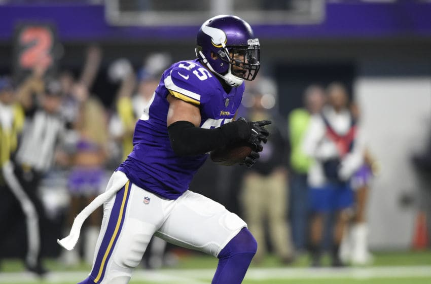 MINNEAPOLIS, MN - JANUARY 14: Anthony Barr #55 of the Minnesota Vikings runs with the ball after intercepting Drew Brees #9 of the New Orleans Saints in the second quarter of the NFC Divisional Playoff game on January 14, 2018 at U.S. Bank Stadium in Minneapolis, Minnesota. (Photo by Hannah Foslien/Getty Images)