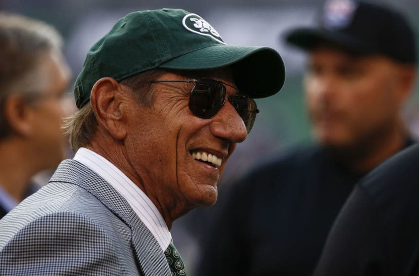 EAST RUTHERFORD, NJ - AUGUST 24: New York Jets legend Joe Namath stands on the sidelines during warmups for their preseason game against the New York Giants at MetLife Stadium on August 24, 2018 in East Rutherford, New Jersey. (Photo by Jeff Zelevansky/Getty Images)