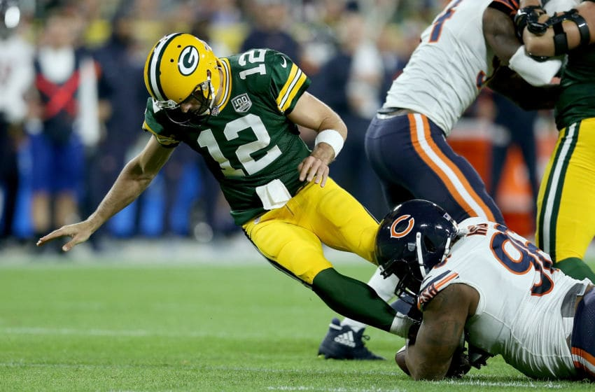 GREEN BAY, WI - SEPTEMBER 09: Akiem Hicks #96 of the Chicago Bears strip sacks Aaron Rodgers #12 of the Green Bay Packers during the second quarter of a game at Lambeau Field on September 9, 2018 in Green Bay, Wisconsin. (Photo by Dylan Buell/Getty Images)