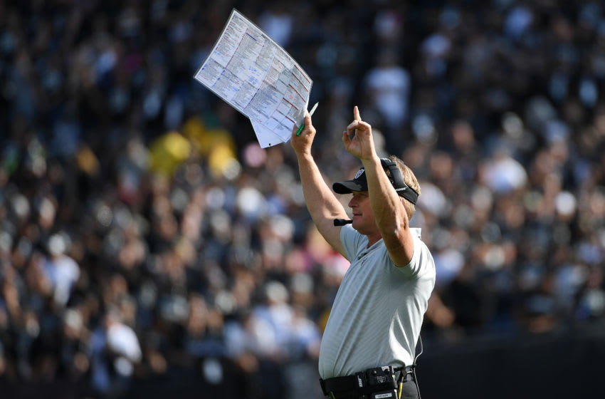 OAKLAND, CA - OCTOBER 28: Head coach Jon Gruden of the Oakland Raiders reacts after a Derek Carr #4 one-yard touchdown against the Indianapolis Colts during their NFL game at Oakland-Alameda County Coliseum on October 28, 2018 in Oakland, California. (Photo by Robert Reiners/Getty Images)