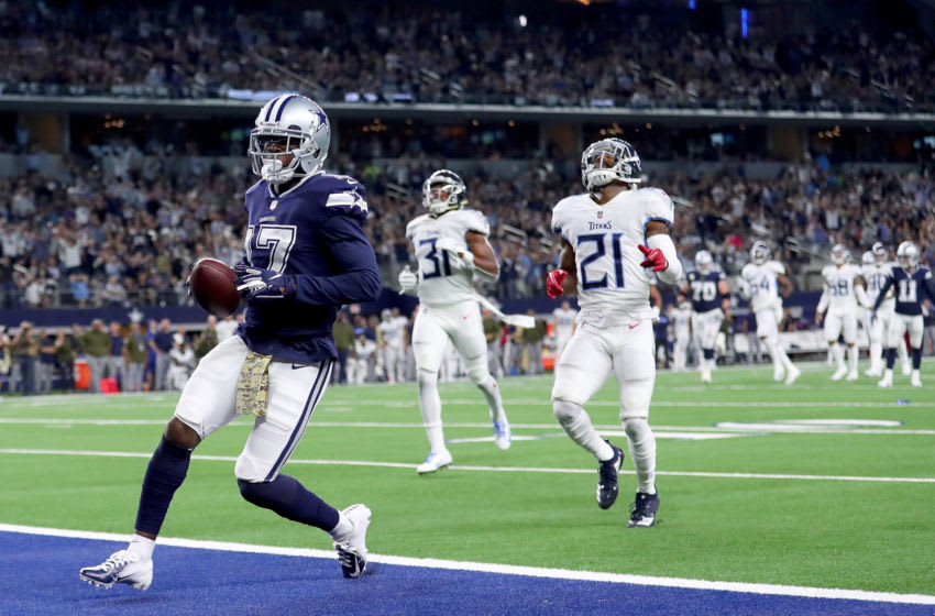 ARLINGTON, TX - NOVEMBER 05: Allen Hurns #17 of the Dallas Cowboys scores a touchdown against Malcolm Butler #21 of the Tennessee Titans and Kevin Byard #31 of the Tennessee Titans in the second quarter at AT&T Stadium on November 5, 2018 in Arlington, Texas. (Photo by Tom Pennington/Getty Images)