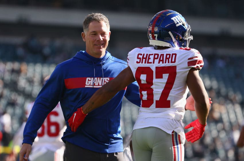 PHILADELPHIA, PA - NOVEMBER 25: Head coach Pat Shurmur of the New York Giants and wide receiver Sterling Shepard #87 of the New York Giants are seen prior to taking on the Philadelphia Eagles at Lincoln Financial Field on November 25, 2018 in Philadelphia, Pennsylvania. (Photo by Mitchell Leff/Getty Images)