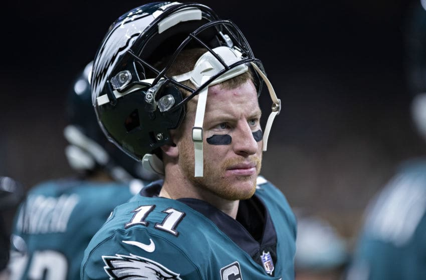 NEW ORLEANS, LA - NOVEMBER 18: Carson Wentz #11 of the Philadelphia Eagles on the sidelines during a game against the New Orleans Saints at Mercedes-Benz Superdome on November 18, 2018 in New Orleans, Louisiana. The Saints defeated the Eagles 48-7. (Photo by Wesley Hitt/Getty Images)
