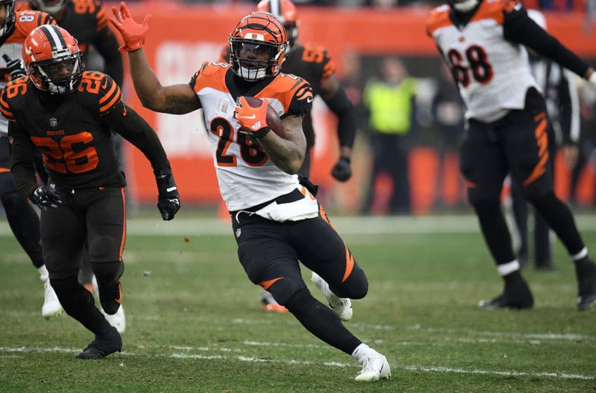 CLEVELAND, OH - DECEMBER 23: Joe Mixon #28 of the Cincinnati Bengals carries the ball during the third quarter against the Cleveland Browns at FirstEnergy Stadium on December 23, 2018 in Cleveland, Ohio. (Photo by Jason Miller/Getty Images)