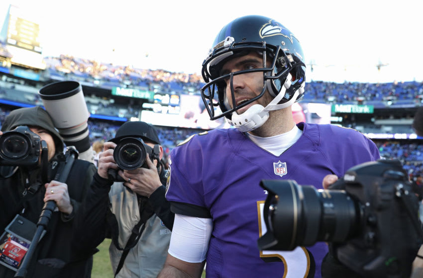BALTIMORE, MARYLAND - JANUARY 06: Quarterback Joe Flacco #5 of the Baltimore Ravens looks on after losing the Los Angeles Chargers in the AFC Wild Card Playoff game at M&T Bank Stadium on January 06, 2019 in Baltimore, Maryland. (Photo by Patrick Smith/Getty Images)