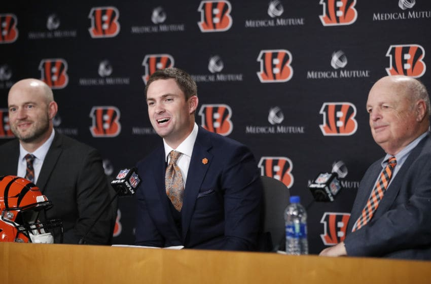 CINCINNATI, OH - FEBRUARY 05: Zac Taylor speaks to the media as director of player personnel Duke Tobin (left) and owner Mike Brown (right) look on after being introduced as the new head coach for the Cincinnati Bengals at Paul Brown Stadium on February 5, 2019 in Cincinnati, Ohio. (Photo by Joe Robbins/Getty Images)