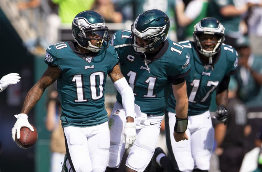 PHILADELPHIA, PA - SEPTEMBER 08: DeSean Jackson #10 of the Philadelphia Eagles celebrates with Carson Wentz #11 after scoring a touchdown in the third quarter against the Washington Redskins at Lincoln Financial Field on September 8, 2019 in Philadelphia, Pennsylvania. The Eagles defeated the Redskins 32-27. (Photo by Mitchell Leff/Getty Images)
