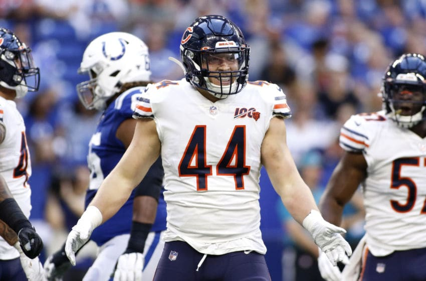 INDIANAPOLIS, INDIANA - AUGUST 24: Nick Kwiatkoski #44 of the Chicago Bears celebrates a sack during the preseason game against the Indianapolis Colts at Lucas Oil Stadium on August 24, 2019 in Indianapolis, Indiana. (Photo by Justin Casterline/Getty Images)