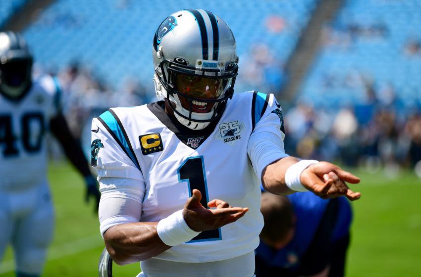 CHARLOTTE, NORTH CAROLINA - SEPTEMBER 08: Cam Newton #1 of the Carolina Panthers before their game against the Los Angeles Rams at Bank of America Stadium on September 08, 2019 in Charlotte, North Carolina. (Photo by Jacob Kupferman/Getty Images)