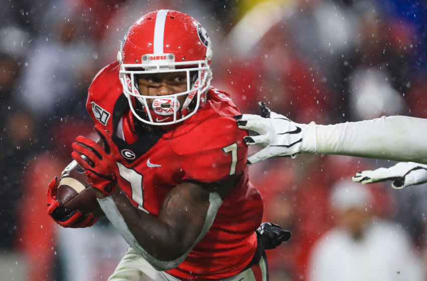 ATHENS, GA - OCTOBER 19: D'Andre Swift #7 of the Georgia Bulldogs rushes during the first half of a game against the Kentucky Wildcats at Sanford Stadium on October 19, 2019 in Athens, Georgia. (Photo by Carmen Mandato/Getty Images)