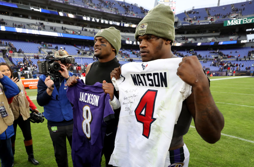 BALTIMORE, MARYLAND - NOVEMBER 17: Quarterbacks Lamar Jackson #8 of the Baltimore Ravens and Deshaun Watson #4 of the Houston Texans exchange jerseys following the Ravens win at M&T Bank Stadium on November 17, 2019 in Baltimore, Maryland. (Photo by Rob Carr/Getty Images)