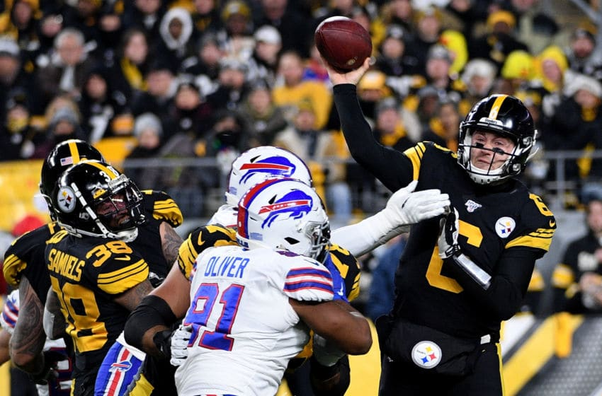 PITTSBURGH, PA - DECEMBER 15: Devlin Hodges #6 of the Pittsburgh Steelers drops back to pass in the first quarter during the game against the Buffalo Bills at Heinz Field on December 15, 2019 in Pittsburgh, Pennsylvania. (Photo by Justin Berl/Getty Images)